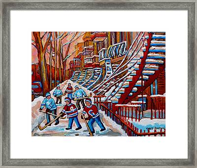 Red Staircases -paintings Of Verdun Montreal City Scene - Hockey Art - Winter Scenes  Framed Print by Carole Spandau
