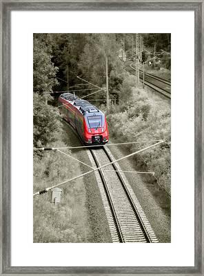 Red Train - Deutsche Bahn Framed Print by Gynt