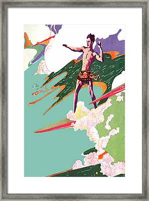 Retro Surfer - Beach Surfing Big Waves - At The Beach America Framed Print by Private Collection