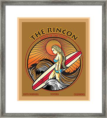 Rincon Ventura California Surfing Framed Print by Larry Butterworth