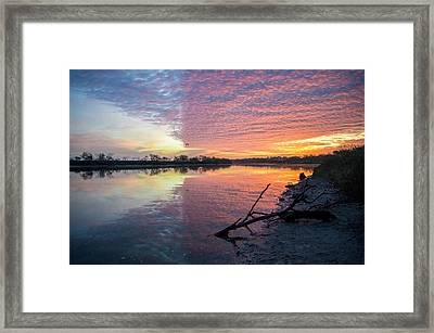 River Glows At Sunrise Framed Print by Leticia Latocki
