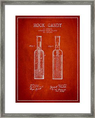 Rock Candy  Patent Drawing From 1881 - Red Framed Print by Aged Pixel