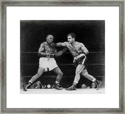 Framed Print featuring the drawing Rocky Marciano by Noe Peralez