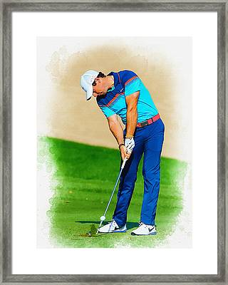 Rory Mcilroy Plays His Second Shot On The Par 4 Framed Print