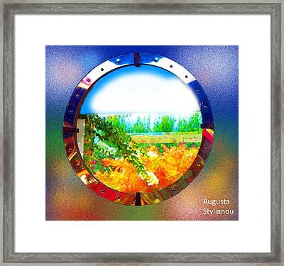 Round Landscape Framed Print by Augusta Stylianou