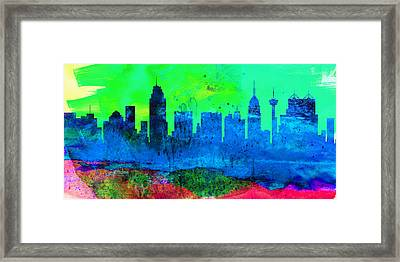 San Antonio City Skyline Framed Print by Naxart Studio