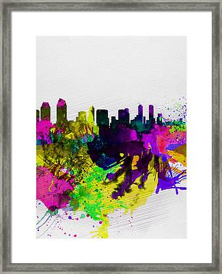 San Diego Watercolor Skyline Framed Print