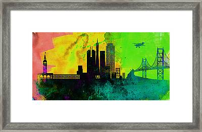 San Francisco City Skyline Framed Print by Naxart Studio