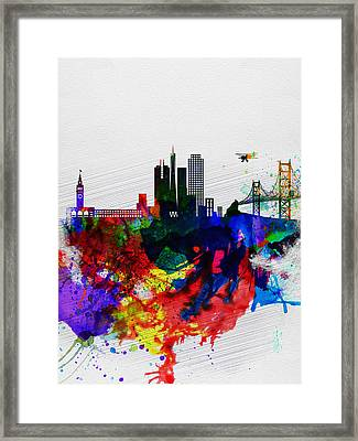 San Francisco Watercolor Skyline 1 Framed Print by Naxart Studio