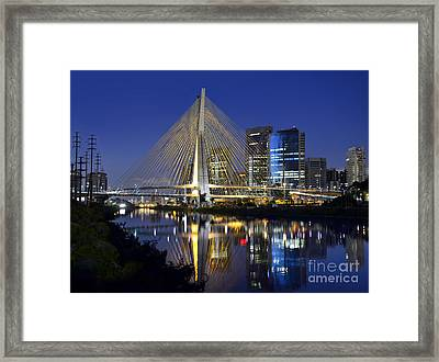 Sao Paulo's Iconic Cable-stayed Bridge And Its Reflex Over Pinh Framed Print by Carlos Alkmin