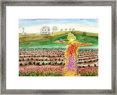 Scarecrow With Nesting Companion Framed Print
