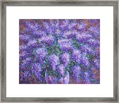 Framed Print featuring the painting  Scented Lilacs Bouquet by Natalie Holland