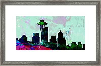 Seattle City Skyline Framed Print by Naxart Studio