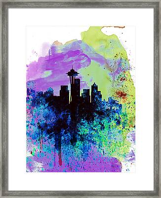 Seattle Watercolor Skyline 1 Framed Print by Naxart Studio