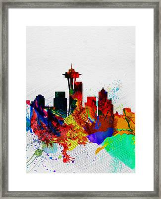 Seattle Watercolor Skyline 2 Framed Print by Naxart Studio