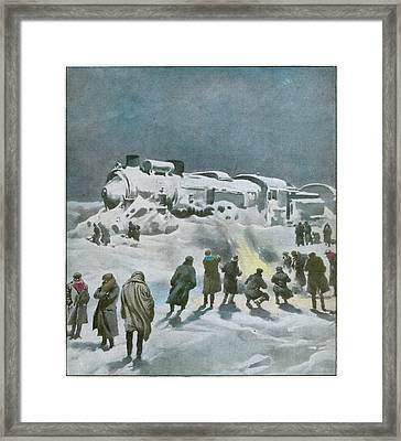 Snow Halts The Train On The Framed Print by Mary Evans Picture Library