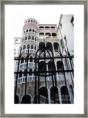 Spiral Staircase Framed Print by Jacqueline M Lewis