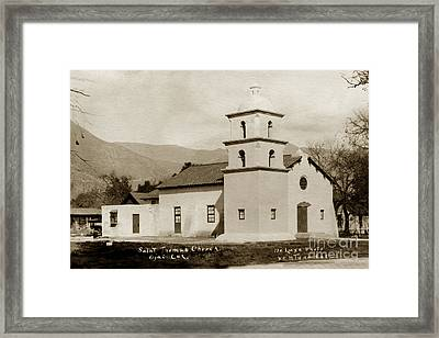 Framed Print featuring the photograph  St. Thomas Aquinas Catholic Church  Ojai Cal 1920 by California Views Mr Pat Hathaway Archives