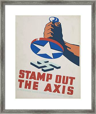 Framed Print featuring the mixed media  Stamp Out The Axis by American Classic Art