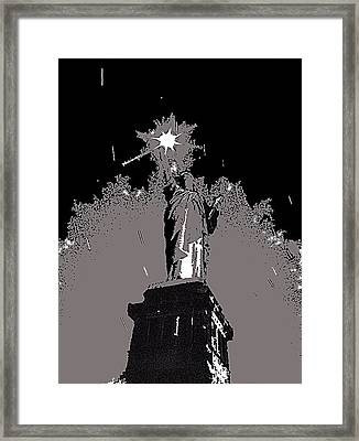Statue Of Liberty Power Outage 1942-2014 Framed Print by David Lee Guss