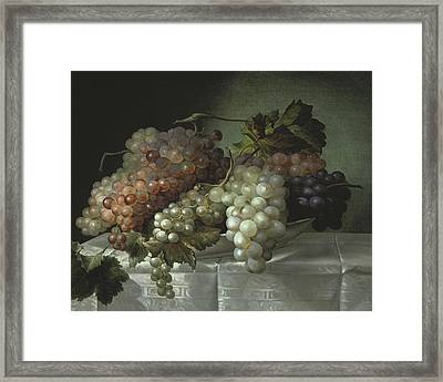 Still Life With Grapes In A Porcelain Dish Framed Print