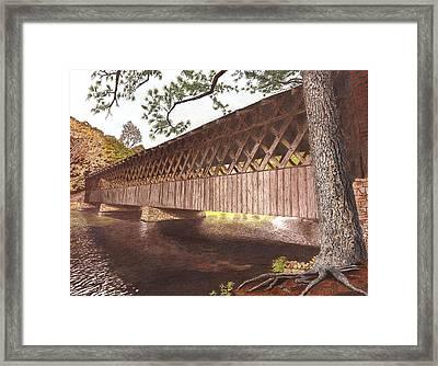 Stone Mountain Covered Bridge Framed Print by Cloud Farrow