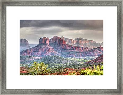 Framed Print featuring the photograph  Storm Clouds Red Rocks by Harold Rau