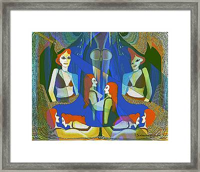 Summer Night Meeting  - 124 Framed Print by Irmgard Schoendorf Welch