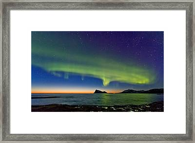 Sunset And Aurora Oval Framed Print