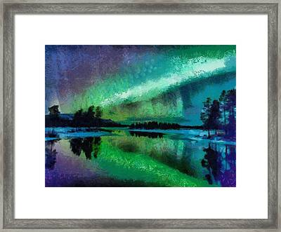 Sunset In Lapland Aurora Borealis Framed Print