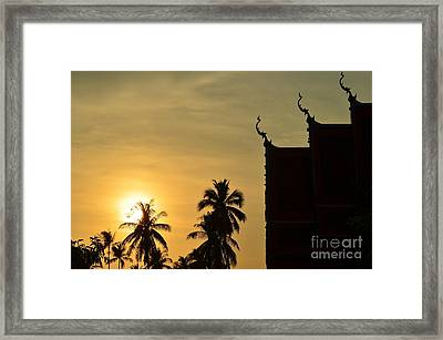 Sunset In The Tempel Framed Print by Michelle Meenawong