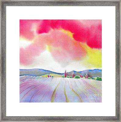 Sunset On The Lavender Farm Framed Print