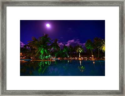 Super Full Moon At The Resort Framed Print by Jenny Rainbow