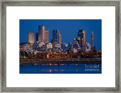 Tel Aviv Blue Hour Skyline  Framed Print