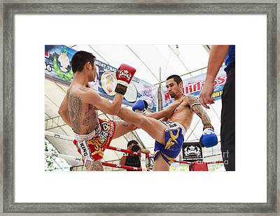 Thai Boxing Match Framed Print by Anek Suwannaphoom