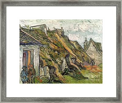 Thatched Cottages In Chaponval Framed Print by Vincent van Gogh