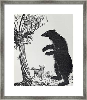 The Bear And The Fox Framed Print by Arthur Rackham
