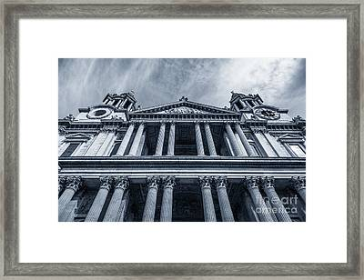 The Columns Of St Paul's Cathedral West Facade From Ludgate Hil Framed Print