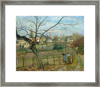 The Fence Framed Print by Camille Pissarro