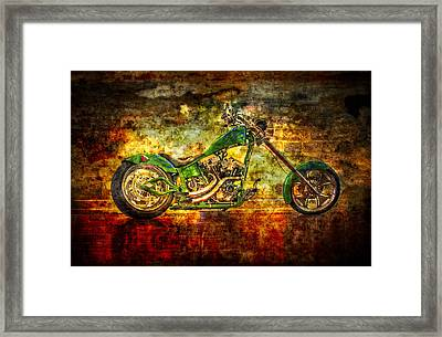 The Green Chopper Framed Print by Debra and Dave Vanderlaan