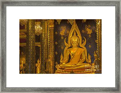The Main Hall Of Wat Thardtong With Golden Buddha Statue Framed Print by Anek Suwannaphoom