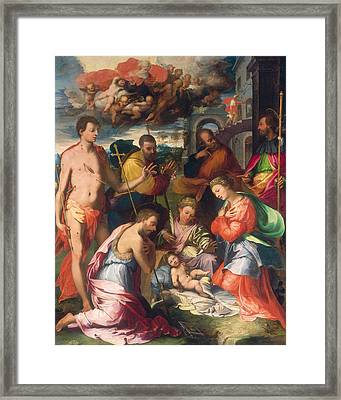 The Nativity Framed Print by Perino del Vaga Pietro Buonaccorsi