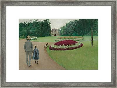 The Park Of The Caillebotte Property At Yerres Framed Print