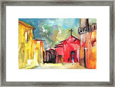 The Red Church In The South Of France Framed Print by Miki De Goodaboom
