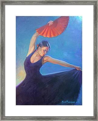 The Red Fan Framed Print by Gwen Carroll