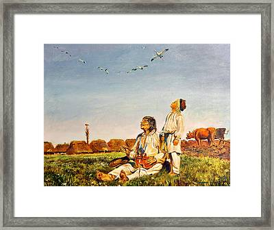 Framed Print featuring the painting End Of The Summer- The Storks by Henryk Gorecki