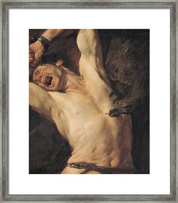 The Torture Of Prometheus Framed Print by Giovacchino Assereto