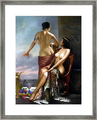 The Two Women Moonlit Night Framed Print