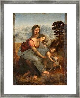 The Virgin And Child With St. Anne Framed Print by Leonardo Da Vinci