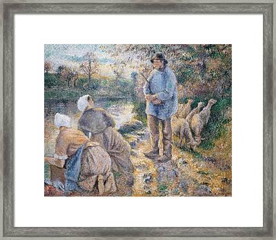 The Washerwomen Framed Print by Camille Pissarro